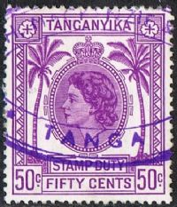 Tanganyika Bft11 1957 Stamp Duty 50c used
